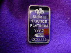 1 Troy Ounce Platinum Pamp Suisse Bar With Serial Numberin Stock 3