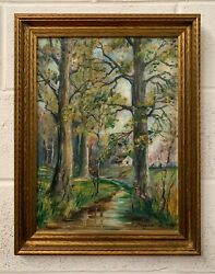 Antique Spring Landscape Painting By E. Squier