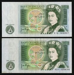 1970-78 Bank Of England 1 One Pound P-374g Signature J.b. Page Lot Of 2