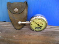 Vintage Us Model A Ford Tire Gauge Antique Us Suede Pouch Beautiful Display Tool