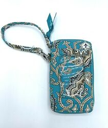 Vera Bradley Totally Turq All In One Wristlet Organizer Wallet Clear Id Great