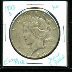 1923 S Xf Peace Dollar Extrafine 90 Silver Key Date Us Common Date Coin 11609