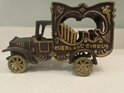 Antique Overland Circus Wagon Truck Cast Iron Delivery Van Collectors Vehicle