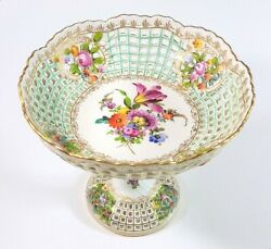 Carl Thieme Dresden Germany Antique Reticulated Floral Pedestal Compote Bowl