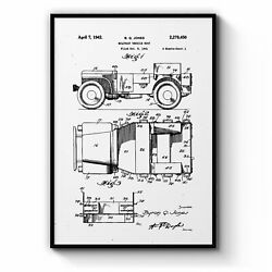 Vintage Jeep Military Patent Military Wall Art