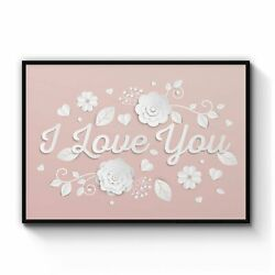 I Love You Quote Romantic Valentines Wall Art