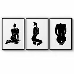 Set Of 3 Nude Silhouette Abstract Woman Wall Art Print Poster Framed Or Canvas