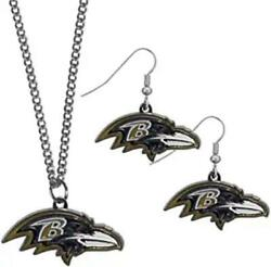 Baltimore Ravens Dangle Earring And Necklace Set [new] Nfl Neck Lace Jewelry