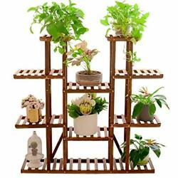 Unho Multitiered Plant Stand 46in Height Wood Flower Rack Holder 16 Potted Di...