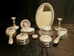 Vintage Victorian Style Sterling Silver Eleven Piece Dressing Table Vanity Set.