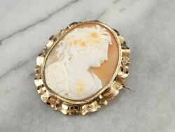 Large Victorian Cameo Gold Brooch