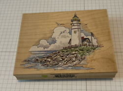 """Rare- New Stamps Happen """"lighthouse"""" Rubber Stamp 80158 Nautical, Seaside"""