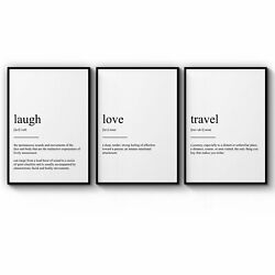 Set Of Dictionary Definitions Love Laugh Travel Art