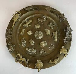 Rare Antique Brass India Tibet Zodiac Hindu Deity Gods Charger Footed Plate