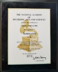 Earth, Wind And Fire - Vintage Original 1978 Grammy Award Nomination Plaque