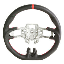 Handkraftd 2015-2017 Ford Mustang Steering Wheel - Leather W/ Red Stitching