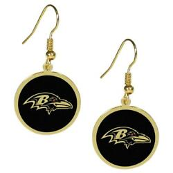 Baltimore Ravens Gold Tone Earrings [new] Nfl Neck Lace Jewelry