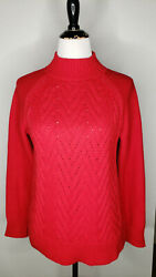 Chaps Sweater Womens Small Cable Chunky Knit Red Mock Neck Christmas Holiday Top