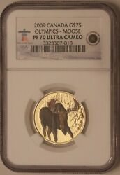 2009 Canada Gold Moose 75 Coin - Ngc Pf 70 Ultra Cameo - Olympics - Proof
