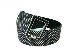 Belt Black And White Dot Pattern Silver Buckle Cotton And Leather 062420