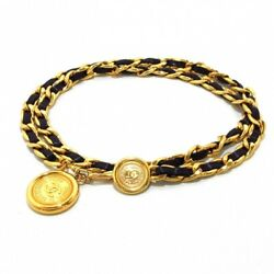 Belt Gold And Black Leather Gold Coco Mark Round Plate Chain Women 062417