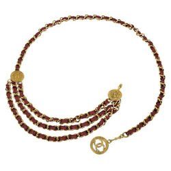 Belt Gp And Red Leather Gold Coco Mark Round Plate Triple Chain 062409