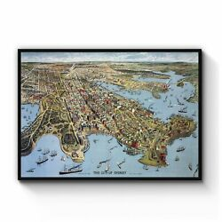Vintage Sydney Map New South Wales Wall Art