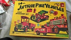 Rare Vintage 1940-1950 Cragstan Fire Trucks Tin Toys Mint Made In Japan W/ Box