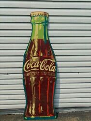 Rare Vintage 1950and039s Coca-cola Bottle Country Store Wood Advertising Sign
