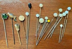 Lot Of Hat Stick Sewing Pins Vintage Gold Filled Rhinestone Pearl Top Bird Dove