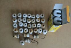 Lot Of 43 Vintage White Porcelain Wire Insulators Wp-22 And Wp-4 Electric Fence