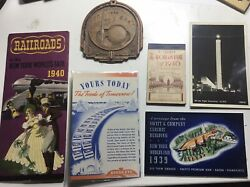 1939 New York Worlds Fair 6 Souvenirs/ Tickets-syroco Coaster-post Cards-photo