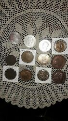 Lot Of 12 World Coins Tokens Medals 1806 - 1969 U.s. England++