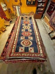 Exquisite 1960and039s Authentic Vintage Mint Hand Made Knotted Rug 3.7 X 9