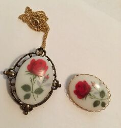Vintage Costume Jewelry Matching Brooches 1 Doubles As Pendant For Necklace
