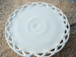 Indiana Glass Milk Glass Colony Lace Edge Pedestal Cake Plate Stand 14 Inch