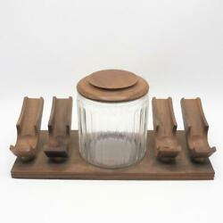 Vintage Wood Pipe Stand Holds 4 Pipes W/ Tobacco Humidor