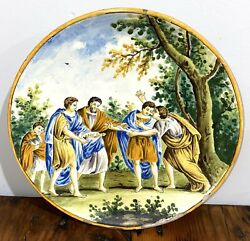 Antique Italy Italian Hand Painted Majolica Faience Pottery Plate Charger