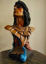 Antique Countertop Tobacco Cigar Store Indian Statue Bust Chalkware