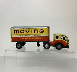 """Vintage Japan Tin 9.25"""" Tin Litho Moving Semi Truck And Trailer Friction Toy"""