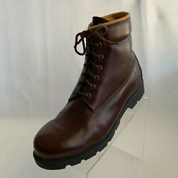 Vintage Mens Boots Classic Brown Leather Hiking/work Lace Up Size 11m