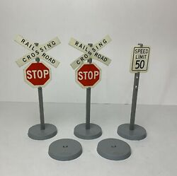 Vintage Tonka Rr 2 Railroad Crossing Road Signs And 1 Speed + 2 Extra Bases
