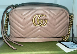 Gucci GG Marmont Matelasse Small Shoulder Leather Bag Dusty Pink $1000.00
