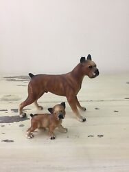 Vtg Dog Figurines - Boxer And Pup, Plastic Hollow, Home Decor, Antique Toys Cute