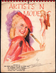 Vintage ARTISTS #x27;N MODELS Pin Up CALENDAR 1957 ART by EARL MAC THERSON