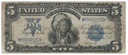 U.s. - Series Of 1899 5.00 Silver Certificate Indian Chief