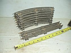 Old Vintage O Gauge Train Track 3 Rail Banked Lot 7 Curves And 2 Straight