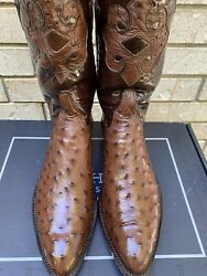 Lucchese Classics Cigar Brown Full Pin Ostrich W/ Mission Inlay Cowboy Boots 11d