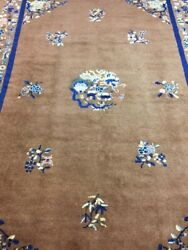 Antique Handmade Chinese Art Deco Wool Rug Carpet Shabby Chic,size8.6 By 6.1 Ft