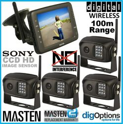 2.4ghz Wireless Hd 5monitor 4 Ccd Camera Reversing Rear View Kit For Car Truck